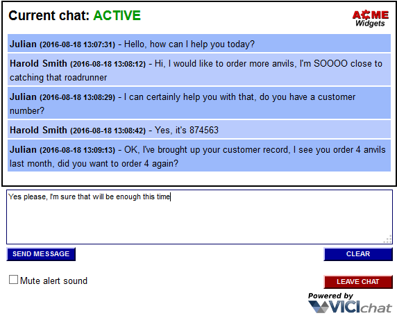 VICIchat Customer Website Chat